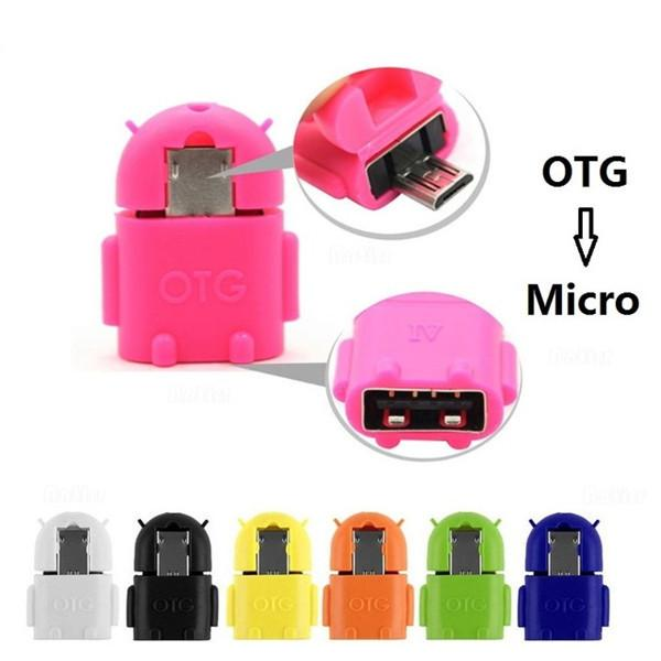 Robot Micro USB To USB 2.0 OTG Adapter Converter For Android Micro Mobile Phone Tablet With Package