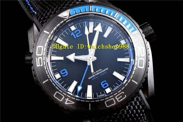 Luxury men watch GMT 8906 Automatic Black coated 316L steel case Sapphire Crystal Ceramic Bezel Nylon rubber strap Blue scale and sewing
