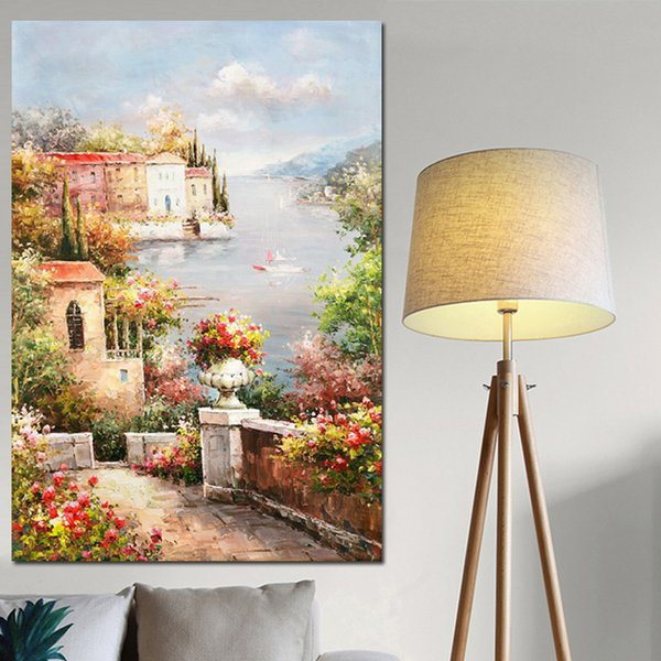 1 Piece Poster and Prints Abstract Mediterranean Sea Garden Landscape Oil Painting on Canvas Modern Wall Picture No Framed