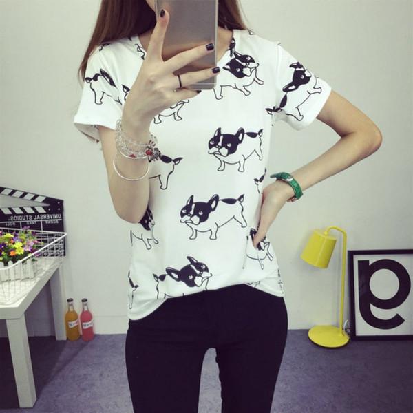 Yaz Moda T-Shirt Kadın Sevimli Köpek Baskılı Tee Gömlek Camisas Femininas Poleras De Mujer Femme Tshirt Tops
