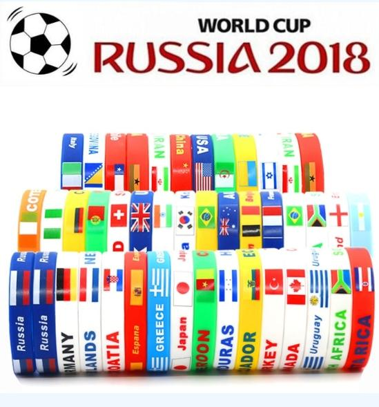 Silicone Bracelets With National Flags Sports Wristband Football Fans Bracelet Souvenir Gift Support FBA Drop Shipping G564R