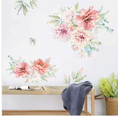 Colorful Spring Flowers Wall Sticker TV Background Sofa Decoration Home Decor Beautiful Peony Wall Decal 3D Garden Wedding Decor