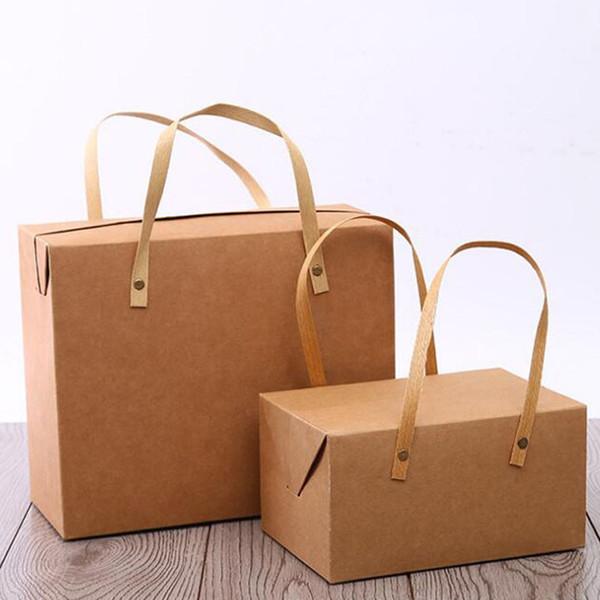 Contenitore di imballaggio per alimenti del contenitore di regalo del forno di Macaron della maniglia portatile della scatola di regalo della carta Kraft d'annata Trasporto libero QW8840