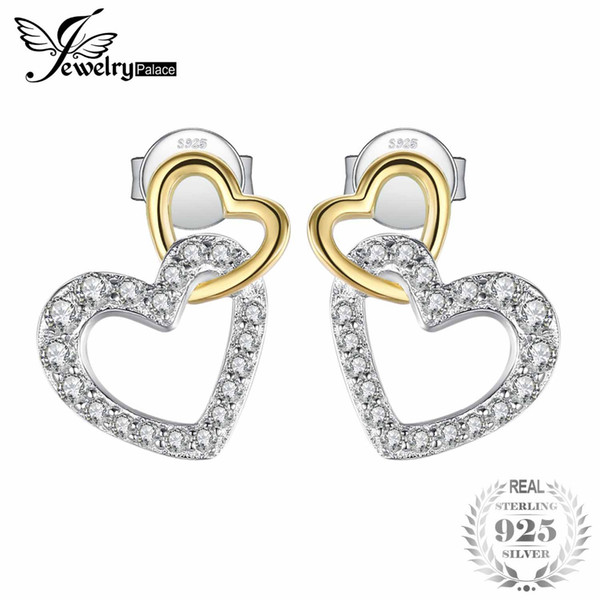 bc7e61fff JewelryPalace 925 Sterling Silver Infinity Love Two Hearts Pave Cubic  Zirconia Stud Earrings For Women As