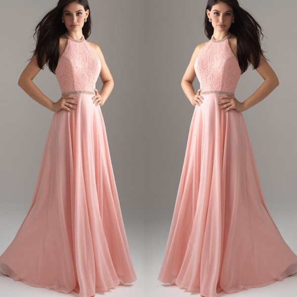 Elegante rosa abiti da sera lunghi 2018 glamour pizzo in chiffon di  cristallo lungo plus size 94955618b1e