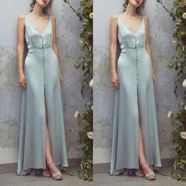 fancy Baby Blue Evening Dresses Front Buttons Deep V neck Satin Front Slit sexy formal prom gowns for women designer betra uk ladies