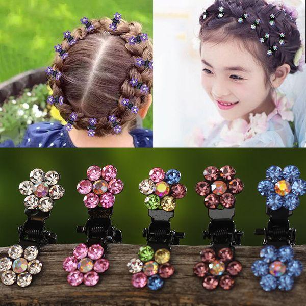 M MISM 12pcs/pack Crystal Rhinestone Flower Hair Claw Hairpins Hair Accessories Ornaments Hair Clips Hairgrip for Kids Girl