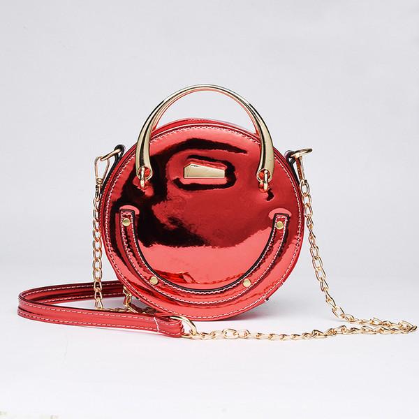 New Ladies Small Round Bags Personality Laser Chain Mini Handbag Small Bags Fashion Messenger Bag High Quality Handmade Craft