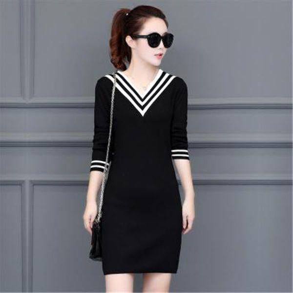 Rusia moda Noble Lady Knit vestido de algodón elástico delgado con cuello en v rojo negro manga tres cuartos estilo de muy buen gusto Split partido sexy