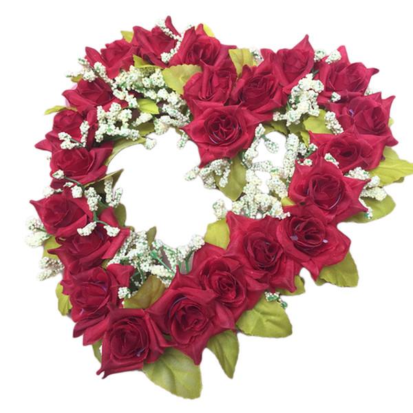 Fashion Romantic Heart Shaped Artificial Flower Wreath Decor Hanging Wreaths Flowers Garland with Silk Ribbon Wedding Decoration