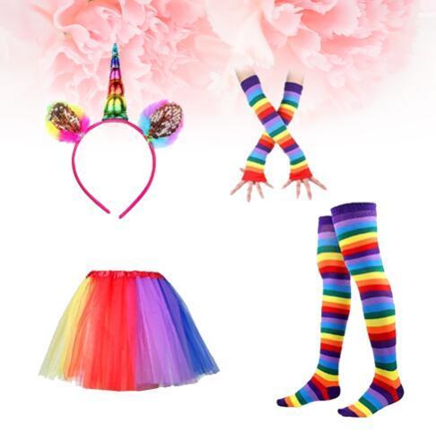bambini tutu arcobaleno vestito partito principessa ballo dress s con unicorno corno fascia leggings calze guanti set bambini compleanno foto prop KKA4376
