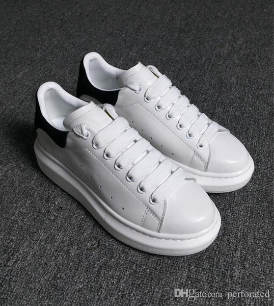 Diseñador de lujo de la marca Hombre Casual zapatos de cuero de cuero para mujer para hombre Moda de cuero blanco zapatos cómodos planos casuales zapatos diarios trotar