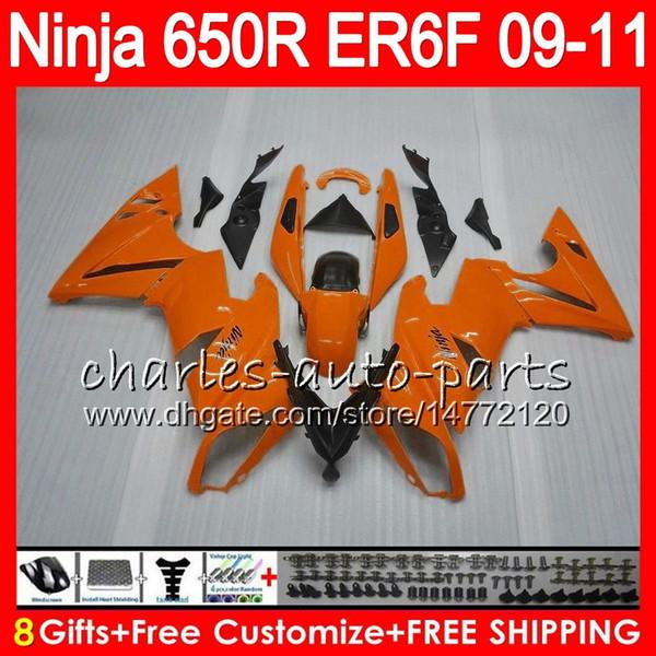 Body For KAWASAKI NINJA Light orange 650R ER 6F ER-6F 2009 2010 2011 Kit 114HM.48 Ninja650R ER6 F 650 R ER6F 09 10 11 Moto Bodywork Fairing