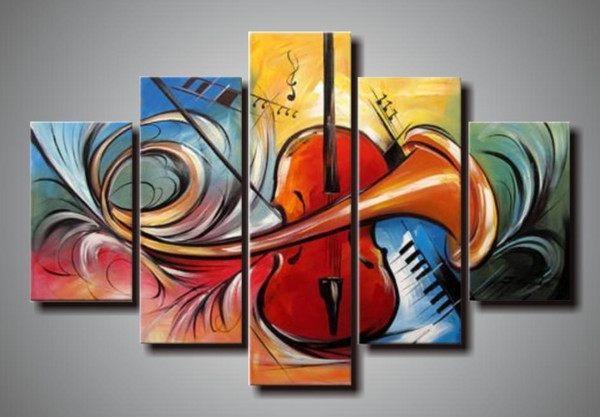 hand-painted 5 panel wall abstract art musical instruments canvas art oil paintings gallery canvas painting bedroom art nature painting