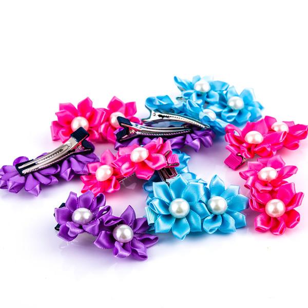 6pcs/lot Small Fresh Hair Clip Hot SaleKids Hair Clip Accessories Girls two Flowers Hairpins Pearls Barrettes Fashion Cute