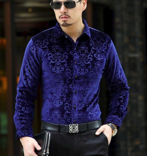 BONJEAN Men's Dress Shirt Male Casual Long Sleeve Velvet Fashion Formal Shirts Autumn Winter Warm Thick Shirt Drop Shipping