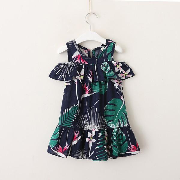 05ae237ccd92 Summer new kids dress bohemia style girls flowers leaves printed beach  dress children falbala dew shoulder