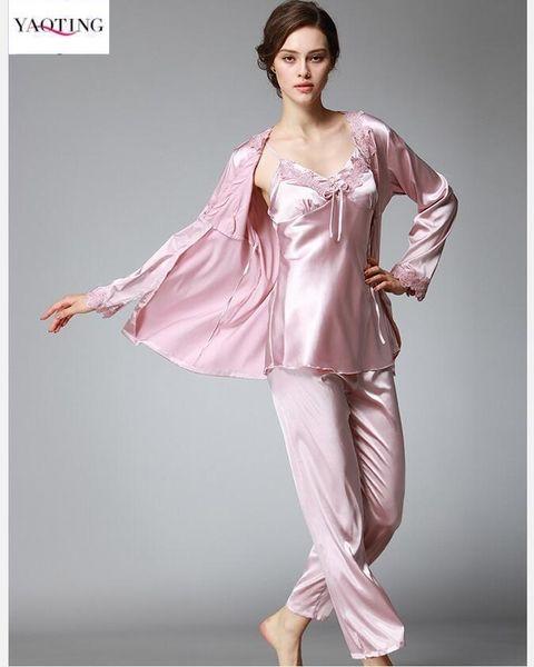 Elegant Women's Robe Pants Sets Silk like pajamas Sleep comfortable Anti real silk Lace inlay Night Shirt Elegant 3 pieces Pajamas Sets