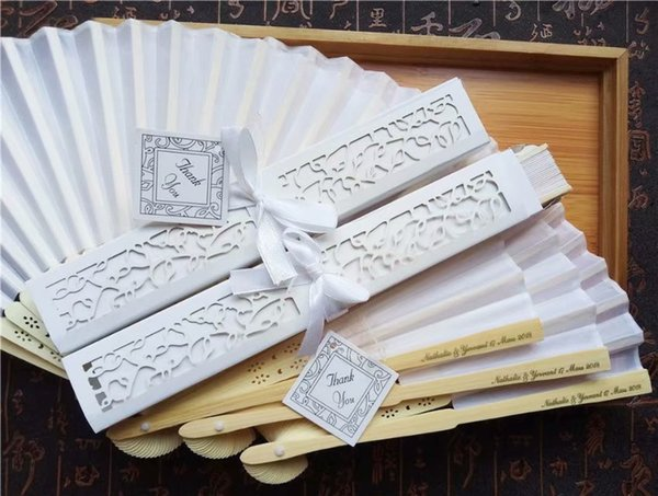 20 pcs/lot Personalized Luxurious Silk Fold hand Fan in Elegant Laser-Cut Gift Box +Party Favors/wedding Gifts+printing