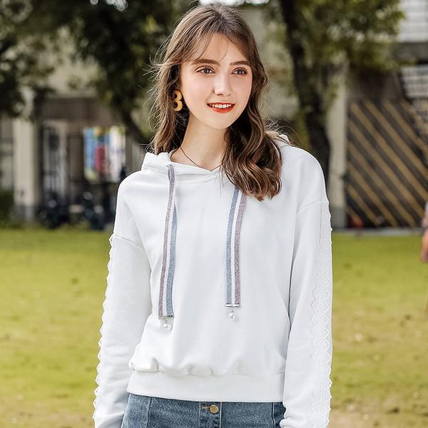 2018 autumn and winter new Korean women's long-sleeved sweatshirt loose lazy wind jacket casual coat wild hooded sweater
