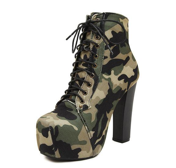 Camouflage Lace High Heel Women Boots Square Cotton Army Boots Military Combat Tactical Thick Heel Ankle Shoes Size 35-40