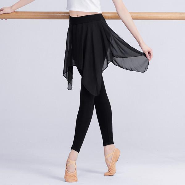 Professional Black Ballet Stretchy Tanz Leggings Mädchen Frauen Erwachsene Ballett Training Hosen mit Chiffon Rock Fitness Gym Hosen