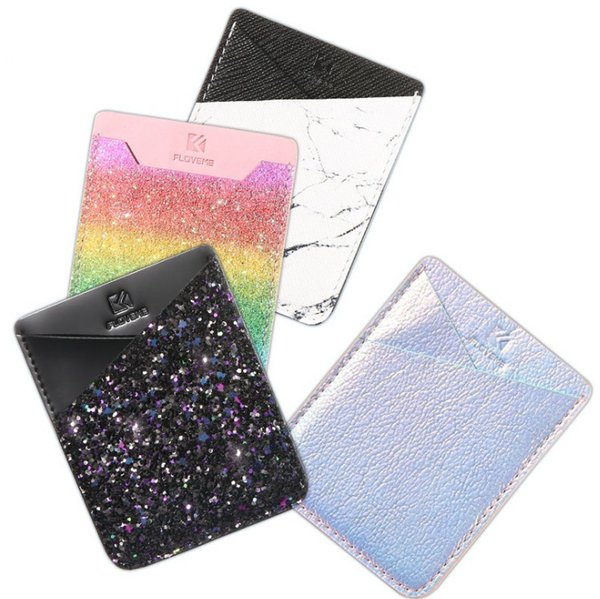 Colorful Adhesive Sticker Card Holder Back Cover Phone Pouch Case For Samsung S9 S8 S9 Plus For iPhone X 8 7 Plus LLFA