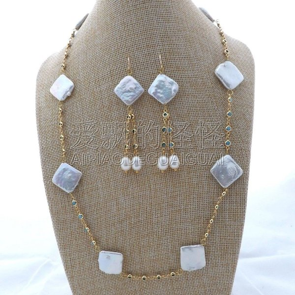 """S112408 25"""" White Square Pearl Blue Crystal Chain Necklace Earrings Set"""