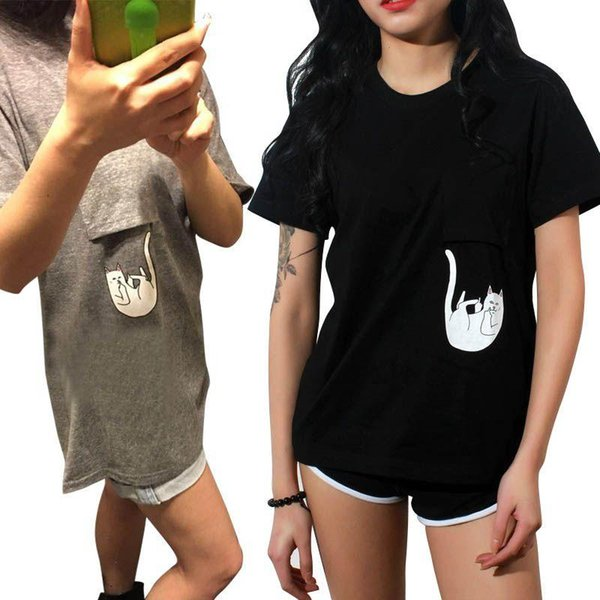 Wholesale-Women T Shirt Summer Style T-shirt Print Middle Finger Pocket Cat O-neck Short Sleeve Cotton Tee