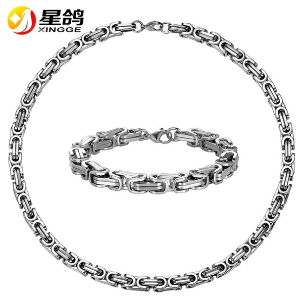 Steampunk African Jewelry Set Wholesale silver Color Stainless Steel Chain length 22cm 55cm Bracelet Necklace Set For Men Jewelry