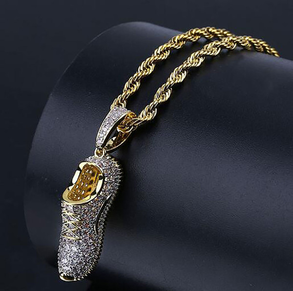 3D Sneaker Shoe Bling Bling Gold Hip Hop Pendant CZ Micro Pave 18k Yellow Gold Plated Necklace Cubic Zirconia Pendant Hip Hop Jewelry