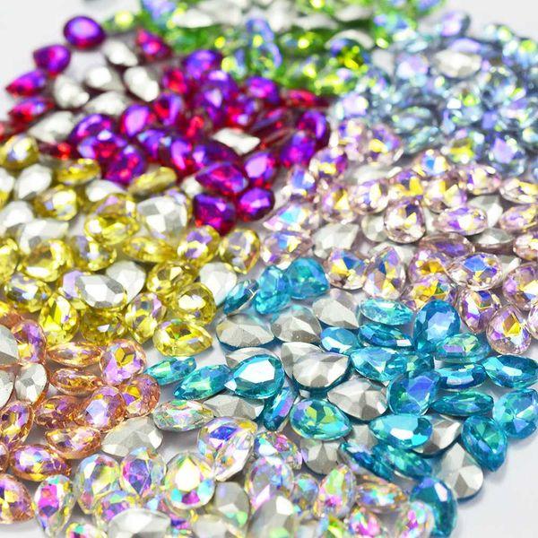 10pcs Large Glass Nail Glitter Rhinestones AB Color Gradient Decoration Water Drop Clear 3d Tip DIY For Polish Nail Art SA104