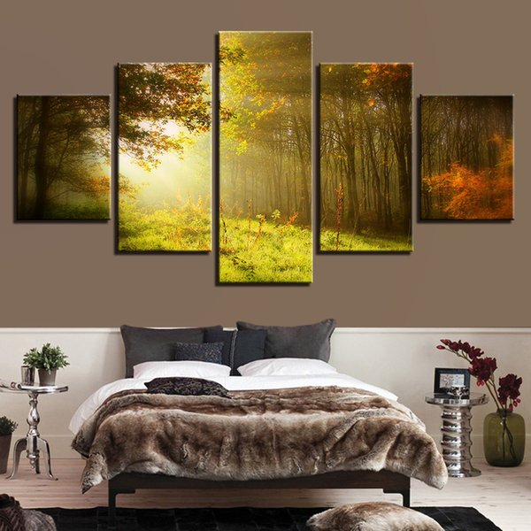 Modular Canvas Painting 5 Pieces Sunshine Forest Natural Scenery Pictures HD Printed Poster Decor Living Room Wall Art Framework