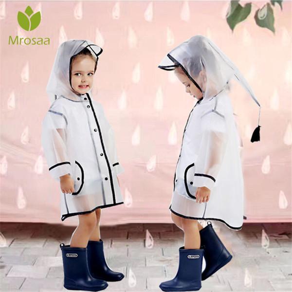 Mrosaa Su geçirmez EVA Yağmur Coat Boy Çocuk Kız Windproof Panço Rainwear Rainsuit Anaokulu Çocuk Bebek Yağmurluk
