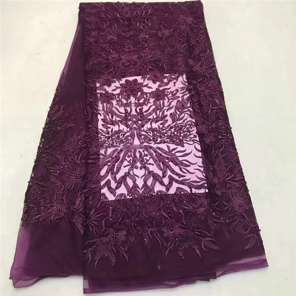 Good quality french lace fabric with stones African lace fabric latest tulle laces fabrics for 5 yards dress material !ZQ081802