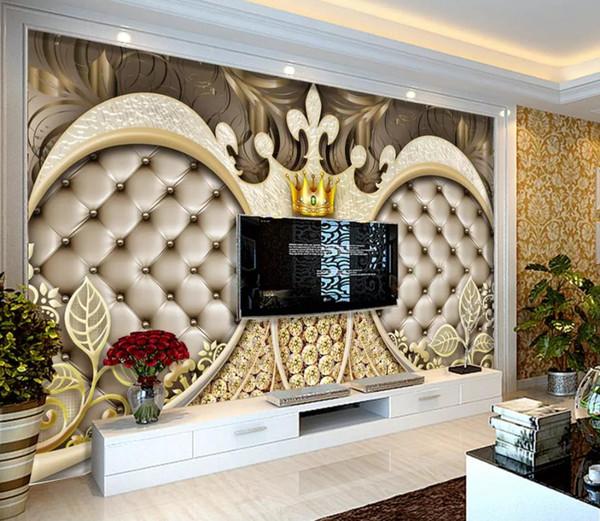 Custom photo wallpaper 3d wall murals 3D Crown diamond Living Room TV Sofa Background wall papers home decor mural wallpaper