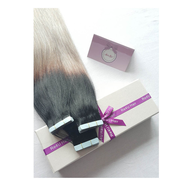 Ombre Balayage Color1b Fading to Grey Brazilian Remy Hair Tape Extensions 20 Pcs per Pack Tape in Human Hair Extensions