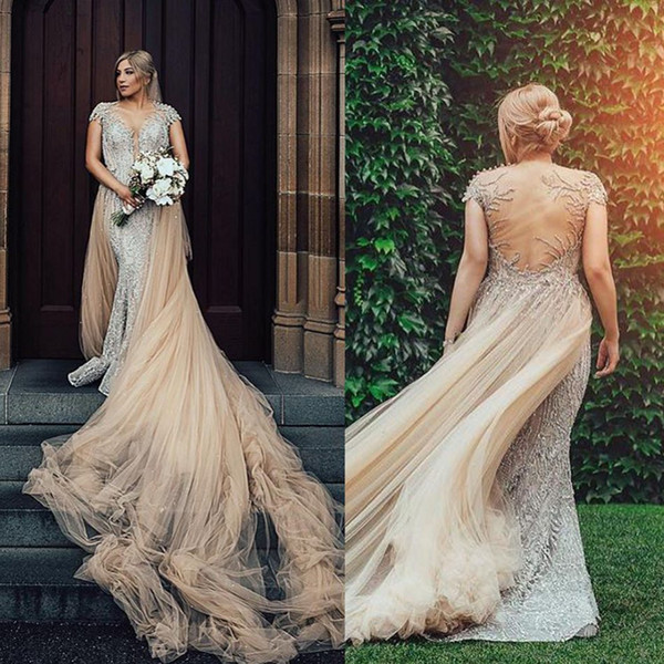 2019 Mermaid Wedding Dresses With Detachable Skirt Sheer Jewel Neck Crystal Beads Sweep Train Country Bridal Gowns Plus Size Wedding Dress