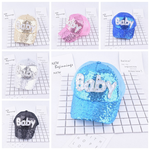 Sequins Kids Hats Glitter Baby M Printed Baseball Caps Boys Snapback Hip-hop Hat Summer Sunscreen Cap Mesh Ball Hat GGA346