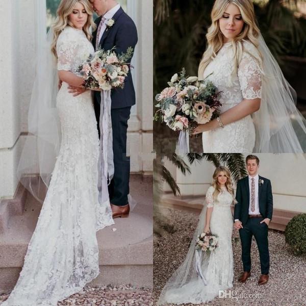 2018 país sereia vestidos de casamento modesta jóia mangas curtas trem da varredura vestidos de noiva apliques de renda plus size praia jardim vestido de noiva