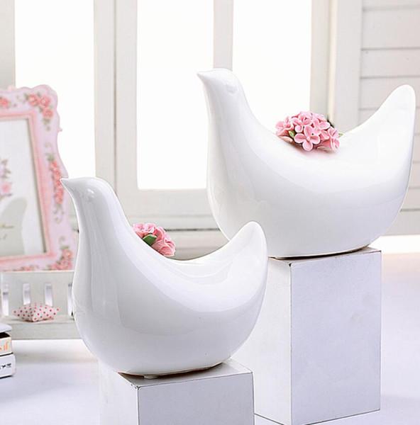 white ceramic Happy birds figurines home decor handicraft ornament crafts room decoration porcelain figurine doll for girls