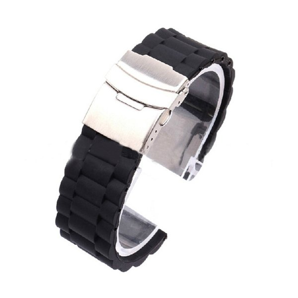 Rubber Watchband 18/20/22/24mm Flat Straight End Metal Bracelet Watch Band Strap for Women Top Quality New