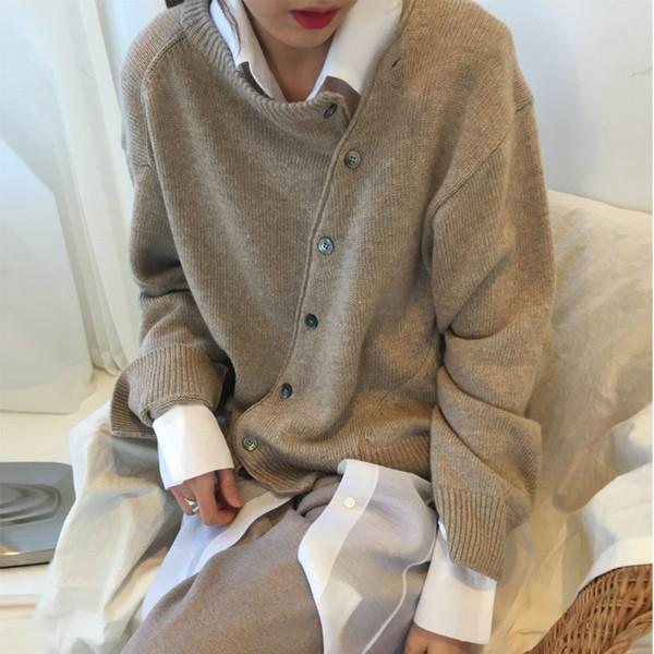 Женщины Осень Зима свитер со скосом кнопки вязаные кардиганы пальто повседневная Винтаж плюс размер тянуть Femme Hiver корейский одежда