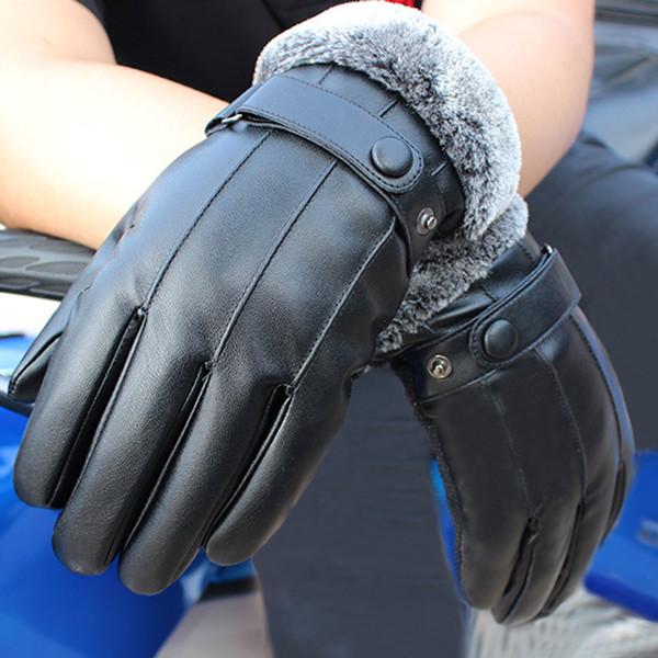 1 par antiderrapante luvas de couro pu à prova de vento luvas de tela de toque preto inverno luva quente FS99