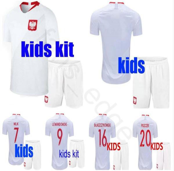 8762dc11f9d2 2018 Kids Polish Soccer Jerseys 9 LEWANDOWSKI GROSICKI 20 PISZCZEK  ZIELINSKI 7 MILIK 16 BLASZCZYKOWSKI Custom
