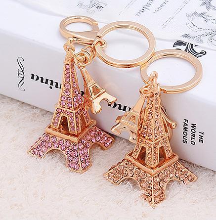 Novidade Itens Retro Strass Duplo Paris Torre Eiffel Modelo Chaveiros de Metal Chaveiros Trinket Criativo Para As Mulheres