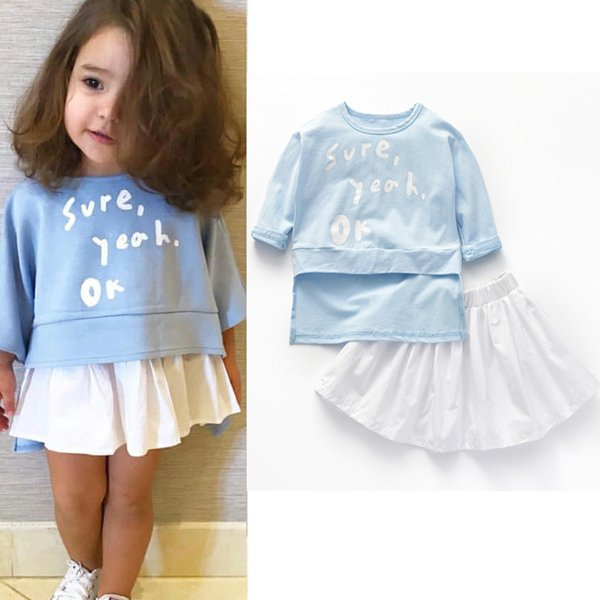 Kids suits Summer fashion and cute baby's two-pieces short skirt suit Cotton fabric with O-neck and letter pattern child clothes for girls