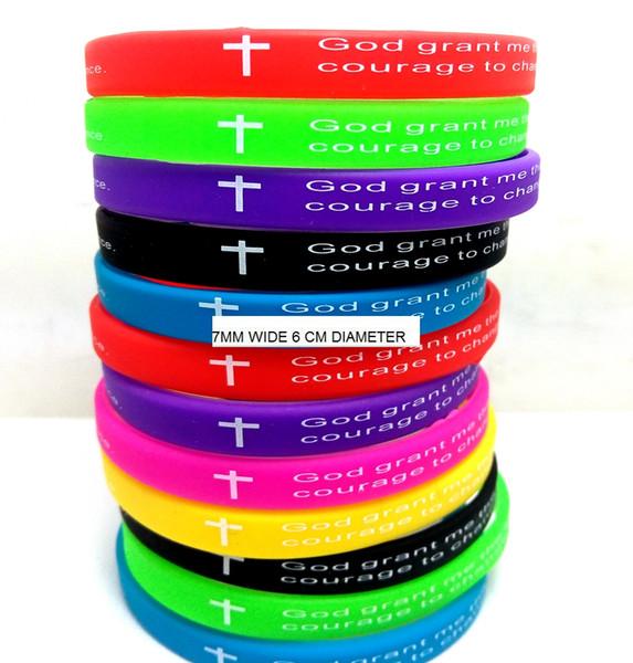 12 adet Renkli 7mm Genişlik Serenity Namaz Bibie Çapraz Silikon Bilezikler Erkek Kadın Bilekliği Toptan Takı Lots