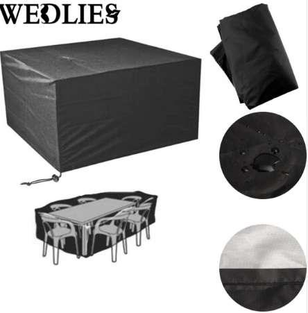 Square Outdoor Patio PVC Polyester Furniture Cover Waterproof 6 Seater Table Chair Cover Black Table Cloth Garden Supplies