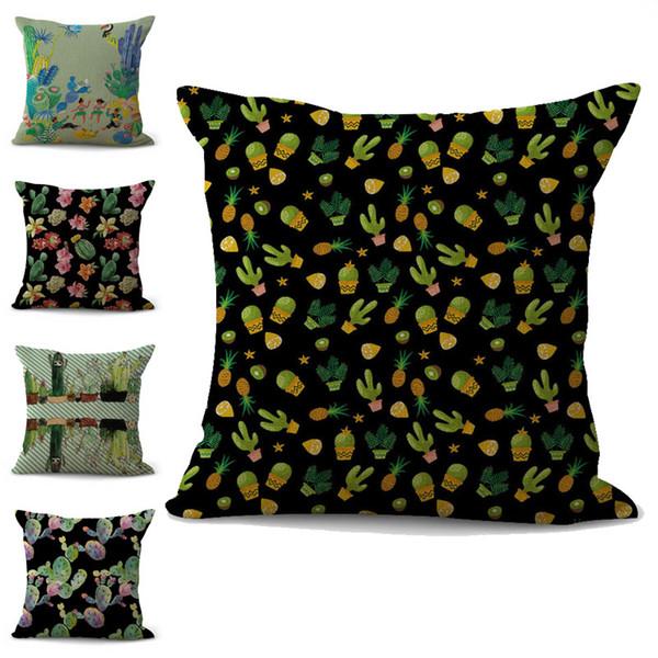 Tropical Plant Cactus Ball Pillow Case Cushion cover linen cotton Throw Square Pillowcase Cover Drop Ship 300783